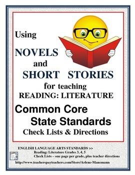 Common Core Check Lists~ ELA 3,4,5 Reading: Literature Che