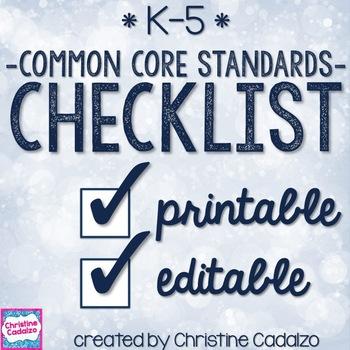 Common Core Checklist Bundle - School Wide License