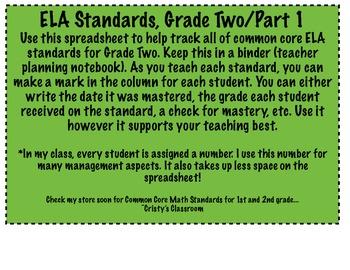 ELA Common Core Checklist for Second Grade