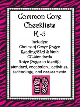 Common Core Checklists K-5 - Beautiful Zebra Pearl Houndst