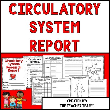 Circulatory System Research Report for Fourth and Fifth Grades