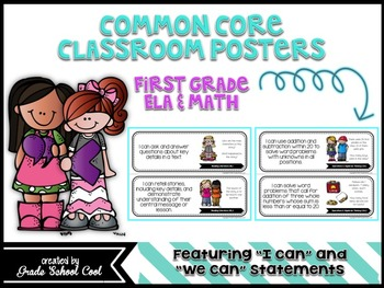 Common Core Classroom Posters: First Grade: ELA & Math