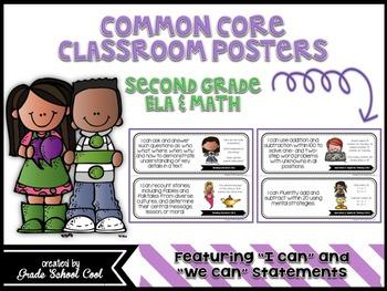 Common Core Classroom Posters: Second Grade: ELA & Math