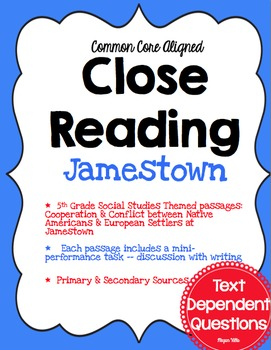 {Common Core} Close Reading ~Text Dependent Questions ~ S.