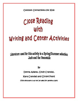 Common Core Close Reading, Writing & Science Activities -J