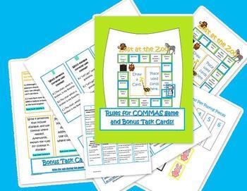 Common Core Commas Game and Bonus Task Cards test prep!