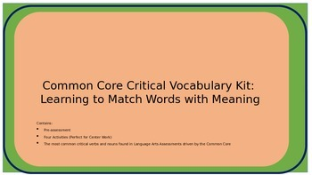 Common Core Critical Vocabulary Kit: Learning to Match Wo