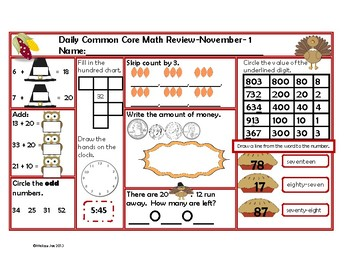 Daily Math Review-November Theme-Common Core Aligned