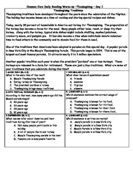 Common Core Daily Reading Warm-Ups Thanksgiving Special
