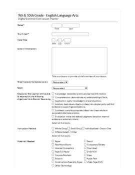 Common Core Digital Lesson Planner - 9/10th Grade English