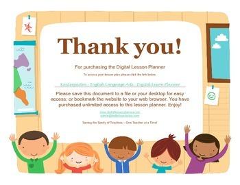 Common Core Digital Lesson Planner - Kindergarten English