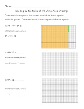 Common Core Division - Dividing by Multiples of 10 Using A