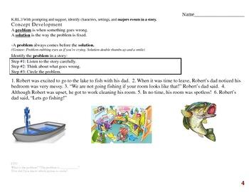 Common Core EDI Kinder RL.K.3 identify characters, setting