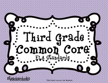 Common Core ELA Checklist and Kid Friendly 3rd Grade
