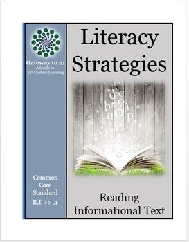Common Core Literacy Strategies/Centers ( CCSS.ELA-RI >>.1