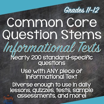 Common Core ELA Question Stems for Informational Texts - G