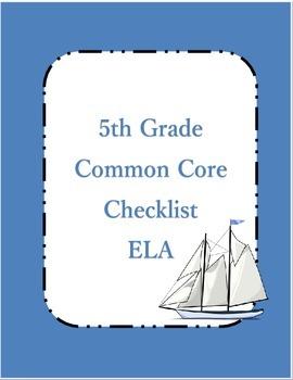 Common Core ELA Standards Checklist 5th grade