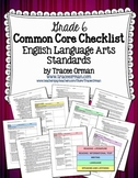Common Core ELA Standards Checklists Grade 6 Editable