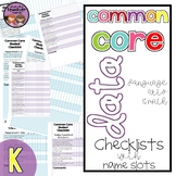 Common Core ELA and Math Data Checklist {Kindergarten}