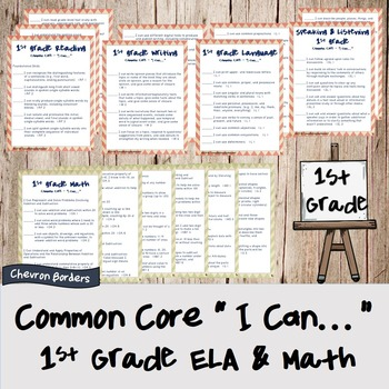 """""""I can..."""" Statements for Common Core ELA & Math Checklist"""