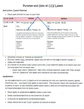 Common Core ELA and Math Labels for Second Grade