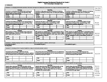 1st Grade Common Core ELD Monitoring Portfolio/Folder Template