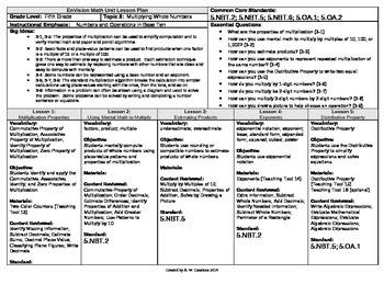 2012 Common Core EnVision Math Fifth Grade Topic 3 Unit Pl