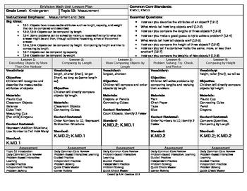 2012 Common Core EnVision Math Kindergarten Topic 12 Unit