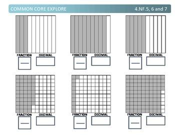 Common Core Explore 4.nf.5,6,7 grade 4 decimals