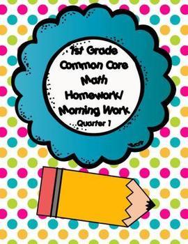 Common Core First Grade Math Homework-1st Quarter