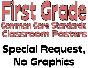 Common Core First Grade Posters (Special Request) No Graphic