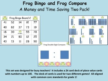 Common Core Frog Bingo and Compare Games