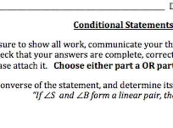Common Core Geometry Conditional Statements Practice
