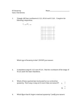 Common Core Geometry Unit 2 Test Review