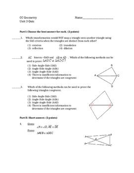 Common Core Geometry Unit 3 Quiz