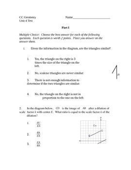 Common Core Geometry Unit 4 Test