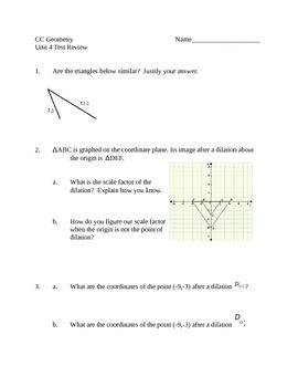 Common Core Geometry Unit 4 Test Review