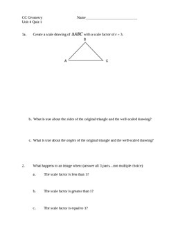 Common Core Geometry Unit 4 quiz