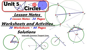 Common Core Geometry Unit #5 Circle Geometry Teaching Materials