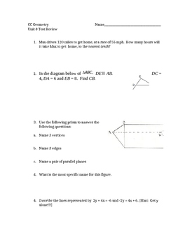Common Core Geometry Unit 8 Test review