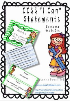 "Common Core Grade 1 ""I Can"" Statements and Checklists Lang"