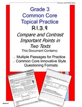 Common Core Grade 3:  Compare & Contrast Texts RI.3.9 Practice