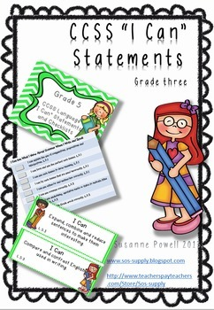 """Common Core Grade 3 """"I Can"""" Statements and Checklists Lang"""