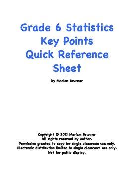 Common Core Grade 6 Statistics Unit Key Points Quick Refer