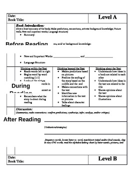 Common Core Guided Reading Lesson Plan Templates for Guide