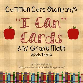 "Common Core ""I Can"" Cards 2nd Grade Math Apple Theme"