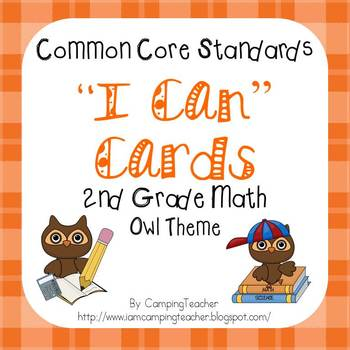 """Common Core """"I Can"""" Cards 2nd Grade Math Owl Theme"""