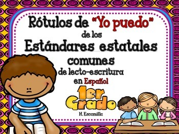"""Common Core """"I Can"""" Language Arts Posters in Spanish for 1"""