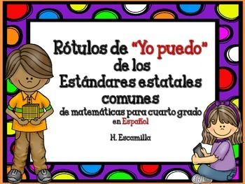 """Common Core """"I Can"""" Math Posters in Spanish for 4th Grade - Red"""