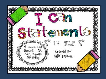 """Common Core """"I Can Statements"""" {2nd Garde} Chalk Pencil Theme"""